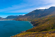 A shot looking down at the South African coast, with a blue sky in ythe background