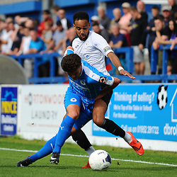 TELFORD COPYRIGHT MIKE SHERIDAN Brendon Daniels of Telford battles for the ball during the National League North fixture between AFC Telford United and Chester FC at the New Bucks Head on Saturday, September 14, 2019<br /> <br /> Picture credit: Mike Sheridan<br /> <br /> MS201920-018