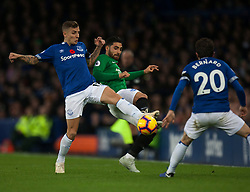 Lucas Digne of Everton (L) and Alireza Jahanbakhsh of Brighton and Hove Albion in action - Mandatory by-line: Jack Phillips/JMP - 03/11/2018 - FOOTBALL - Goodison Park - Liverpool, England - Everton v Brighton and Hove Albion - English Premier League