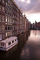 Amsterdam, Holland. A row of houses backing onto a canal.
