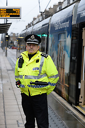 Pictured: Chief Inspector Alan Carson from Police Scotland at the tram stop on York Place in the city where Riina was last seen.<br /> <br /> Police launched an appeal for information in the search for missing Finnish tourist Riina Sjogren, who was last seen in Edinburgh City Centre on 09 January this year.<br /> <br /> &copy; Dave Johnston/ EEm
