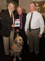 "David Lohan (Sponsor), Frank Downes Irish Guide dogs for the Blind and Tom Langan  at the launch of Ronan Scully's New book ""Time Out"" An Innovative collaboration of words, reflections and stories of goodness, tenderness and positivity for all our lives combine to great effect in this new publication published by Ballpoint Press in aid of Self Help Africa and `The Irish Guide dogs for the Blind  at Hotel Meyrick in Galway. Picture:Andrew Downes"