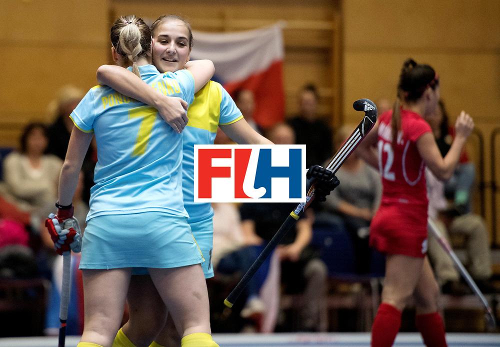 BERLIN - Indoor Hockey World Cup<br /> Women: Ukraine - Czech Republic<br /> foto: Ukraine celebrate.<br /> WORLDSPORTPICS COPYRIGHT FRANK UIJLENBROEK