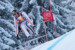 KITZBUHEL AUSTRIA. 22-01-2011. Johan Clarey (FRA) speeds down the course competing in the 71st Hahnenkamm downhill race part of  Audi FIS World Cup races in Kitzbuhel Austria.  Mandatory credit: Mitchell Gunn
