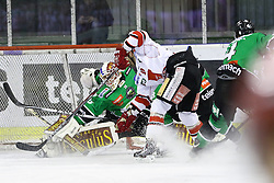 27.02.2015, Hala Tivoli, Ljubljana, SLO, EBEL, HDD Telemach Olimpija Ljubljana vs HC TWK Innsbruck, 6. Qualification Round, in picture Miika Wiikman (HDD Telemach Olimpija, #35) during the Erste Bank Icehockey League 6. Qualification Round between HDD Telemach Olimpija Ljubljana and HC TWK Innsbruck at the Hala Tivoli, Ljubljana, Slovenia on 2015/02/27. Photo by Morgan Kristan / Sportida