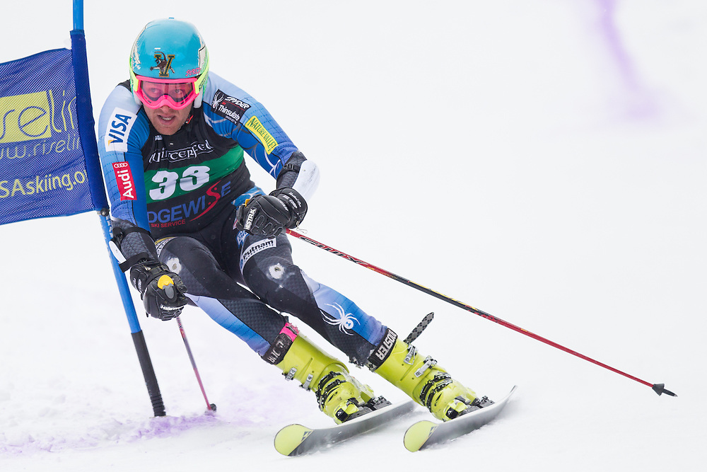 Tim Kelley, skis during the second run of the men's giant slalom at Jiminy Peak on February 15, 2014 in Hancock, MA. (Dustin Satloff/EISA)