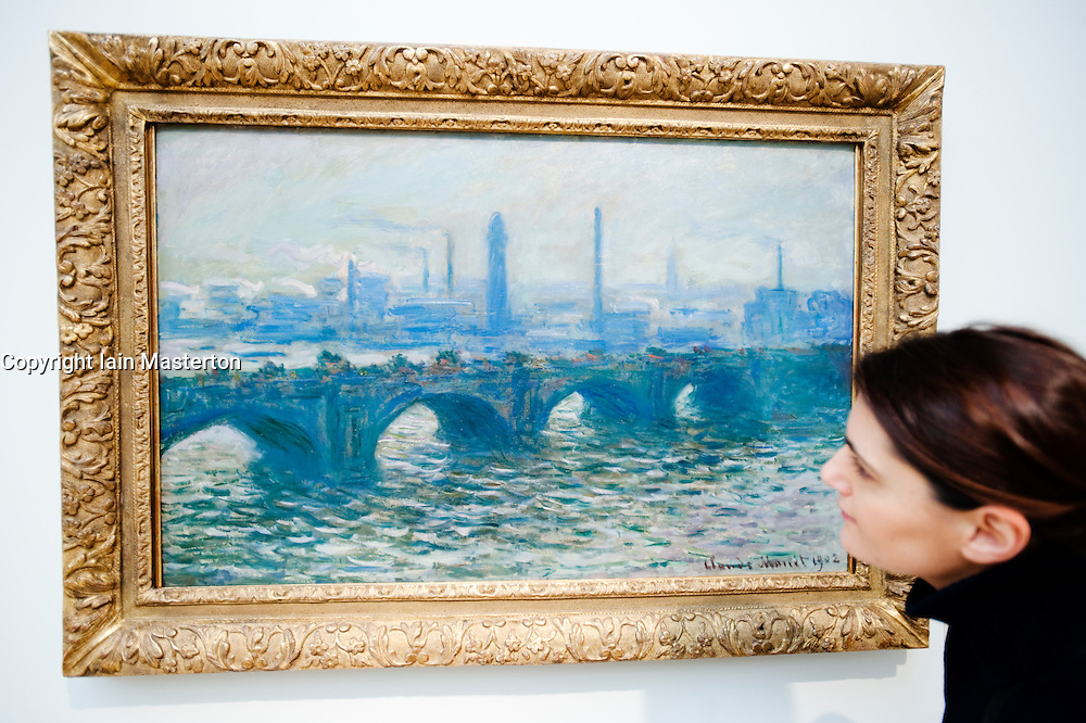 Painting Waterloo Bridge by Claude Monet at Kunsthalle art museum in Hamburg Germany
