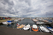 Beddingestrand. The marina before a heavy rain.