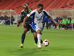 Sibusiso Msomi of Platinum Stars and Sizwe Mdlinzo of Chippa United during the 2016 Premier Soccer League match between Chippa United and Platinum Stars held at the Nelson Mandela Bay Stadium in Port Elizabeth, South Africa on the 28th October 2016<br />