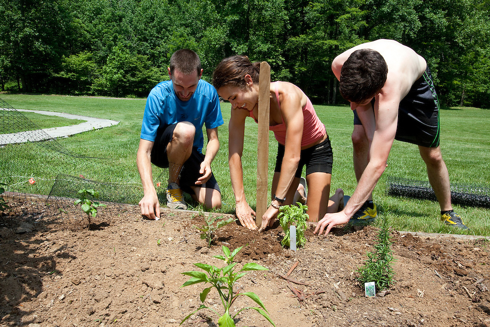 Zap Fitness athletes Dave Jankowski, Alissa McKaig and Jesse Cherry build a fence around an herb garden at the training center. Zap athletes spend Wednesdays doing outdoor chores..
