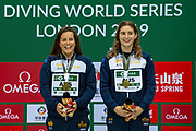 Women's Syncronised 3m dive podium presentation with Anabelle Smith of Australia (left) and Maddison Keeney of Australia with their Gold Medals smiling during the FINA/CNSG Diving World Series 2019 at London Aquatics Centre, London, United Kingdom on 17 May 2019.