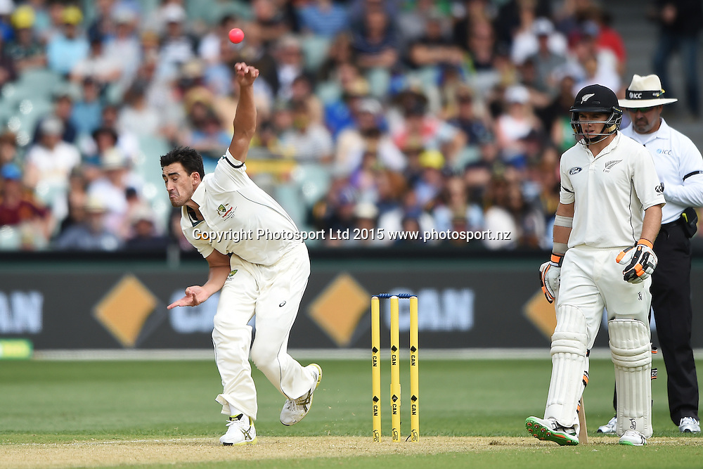Mitchell Starc bowling during the 3rd cricket test match between New Zealand Black Caps and Australia. Friday 27 November 2015. Copyright photo: Andrew Cornaga / www.photosport.nz