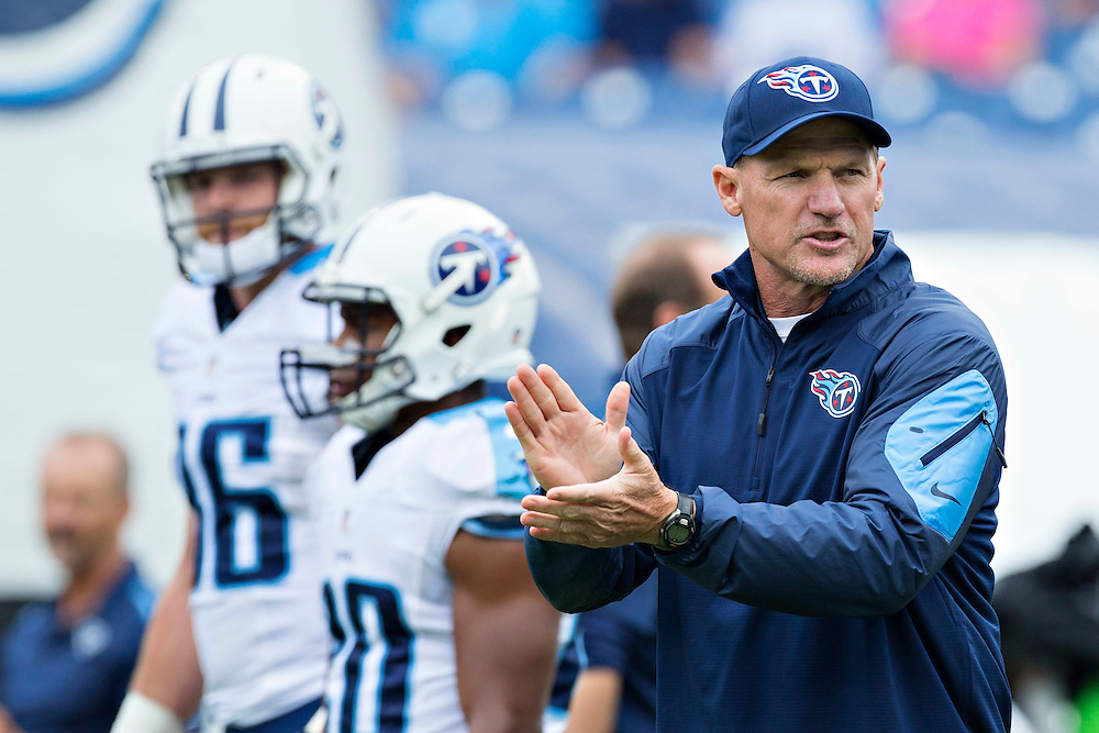 NASHVILLE, TN - OCTOBER 12:  Head Coach Ken Whisenhunt of the Tennessee Titans watches his team warm up before a game against the Jacksonville Jaguars at LP Field on October 12, 2014 in Nashville, Tennessee.  The Titans defeated the Jaguars 16-14.  (Photo by Wesley Hitt/Getty Images) *** Local Caption *** Ken Whisenhunt