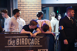 MANCHESTER 19.09.2017 A man looks worse for wear as a  friend looks on.<br /> <br /> Freshers week continues in Manchester which has seen 1000s of students out drinking every night since Sunday.