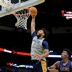 Oct 5, 2019; New Orleans, LA, USA; New Orleans Pelicans center Jahlil Okafor (8) dunks over center Kavell Bigby-Williams (13) during a open practice at the Smoothie King Center. Mandatory Credit: Derick E. Hingle-USA TODAY Sports