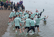 Putney, London, Varsity Boat Race, 07/04/2019,  CUBC and CUWBC, with the traditional, throwing the winning coxes into the River, Mortlake,<br /> [Mandatory Credit: Patrick WHITE], Sunday,  07/04/2019,