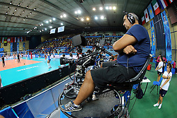 Tv cameras are ready to follow the match