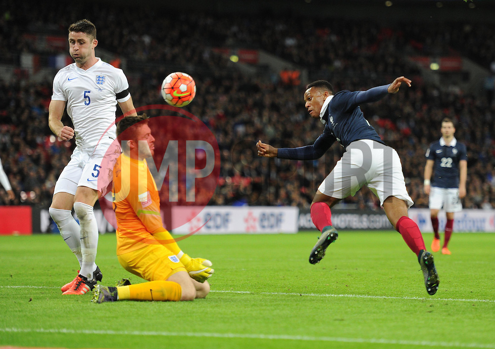Anthony Martial of France watches his shots saved of Jack Butland of England head. - Mandatory byline: Alex James/JMP - 07966 386802 - 17/11/2015 - FOOTBALL - Wembley Stadium - London, England - England v France - International Friendly