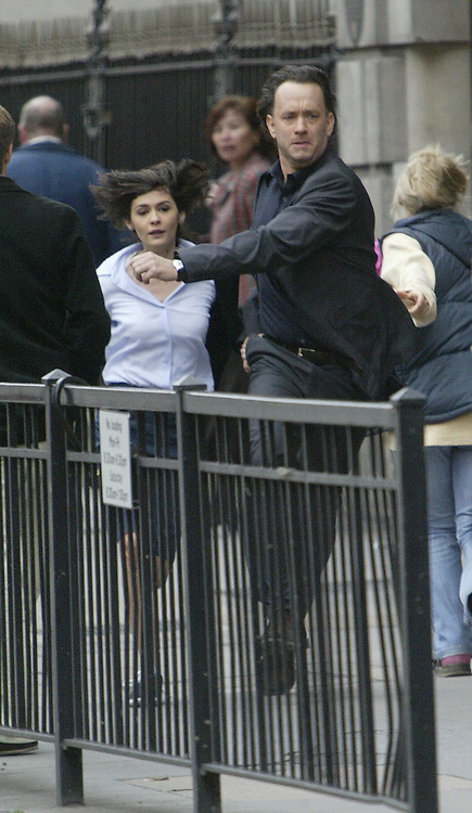 Tom Hanks and Audrey Tautou shooting The Da Vinci Code in Fleet street London