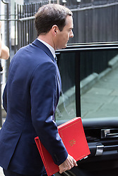 Downing Street, London, July 13th 2016. The Chancellor of The Exchequer George Osborne leaves number 11 Downing street on what may be his last day in charge of the UK's economy as Prime Minister David Cameron hands over the premiership to Theresa May.