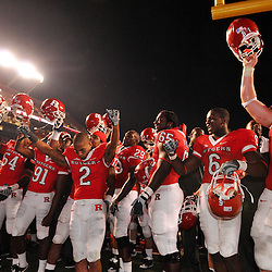 Sep 19, 2009; Piscataway, NJ, USA;  Rutgers players celebrate their 23-15 victory over Florida International at Rutgers Stadium.