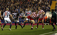 Photo: Mark Stephenson.<br /> West Bromwich Albion v Stoke City. Coca Cola Championship. 03/10/2007.West Brom's  Leon Barnett  (no 4 ) heads the ball in for 1-1