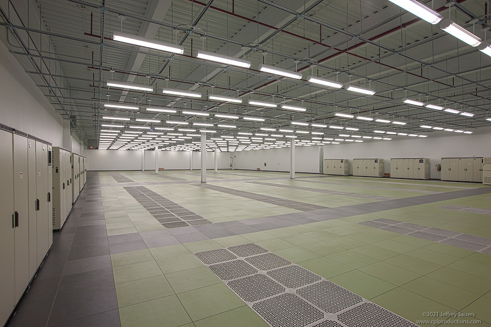 Interior  image of empty server room at Manassas Data Center