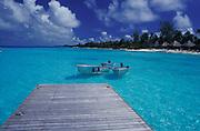 Luxury resort, Kia Ora,pier leading in turquoise waters, Rangiroa,French Polynesia,Tuamotos