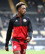 Mallik Wilks of Accrington Stanley warms up ahead of his potential debut before the Sky Bet League 2 match at Meadow Lane, Nottingham<br /> Picture by James Wilson/Focus Images Ltd 07522 978714‬‬<br /> 25/08/2017