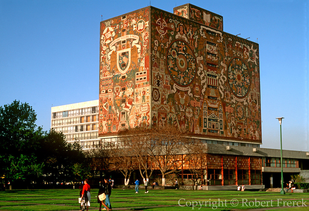 MEXICO, EDUCATION, UNAM National University library mosaic