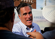 """Republican presidential candidate Mitt Romney greets supporters in Troy, Ohio. The rally is part of the Romney campaign's   """"Every Town Counts"""" bus tour."""