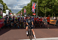 Kirsten WILD (NED) Wiggle High5 on the start line being introduced to the crowd ahead of The Prudential RideLondon Classique. Saturday 28th July 2018<br /> <br /> Photo: Ian Walton for Prudential RideLondon<br /> <br /> Prudential RideLondon is the world's greatest festival of cycling, involving 100,000+ cyclists - from Olympic champions to a free family fun ride - riding in events over closed roads in London and Surrey over the weekend of 28th and 29th July 2018<br /> <br /> See www.PrudentialRideLondon.co.uk for more.<br /> <br /> For further information: media@londonmarathonevents.co.uk