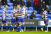 Goal Reading defender Michael Morrison (4) scores a goal and celebrates 1-0 during the EFL Sky Bet Championship match between Reading and Luton Town at the Madejski Stadium, Reading, England on 9 November 2019.