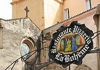 Pizzeria restaurant sign, Tropea, Italy