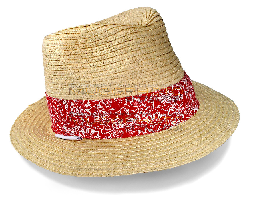 men's straw beach hat with a red band