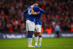 Leighton Baines of Everton commiserates Romelu Lukaku of Everton after losing 2-1 against Manchester United  - Mandatory byline: Jason Brown/JMP - 07966386802 - 23/04/2016 - FOOTBALL - Wembley Stadium - London, England - Everton v Manchester United - The Emirates FA Cup