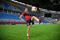 ASTANA, KAZAKHSTAN - Friday, September 15, 2017: Wales' Gemma Evans training at the Astana Arena ahead of the FIFA Women's World Cup 2019 Qualifying Round Group 1 match against Kazakhstan. (Pic by David Rawcliffe/Propaganda)