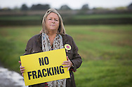 Anti-fracking campaigner Barbara Richardson, pictured at her home near the village of Wharles, close to the proposed site at Roseacre Wood, Lancashire where fracking firm Cuadrilla has been given permission to undertake construction and testing for shale gas extraction. On 6th October, 2016 UK Government's Communities secretary, Sajid Javid, accepted an appeal from Cuadrilla against an earlier decision to turn down their plans to frack on sites on the Fylde coast.
