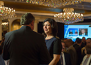 Garden City, New York, USA. 3rd November 2015. Democrat MADELINE SINGAS claims victory over Republican Kate Murray in the hotly contested race for Nassau County District Attorney. Singas, the Acting District Attorney, was interviewed at the Nassau County Democrats Election Night Party at the Garden City Hotel, when, with more than 99% of the precincts results in, she was comfortably leading Murray, who's Hempstead Town Supervisor. Large monitor in background shows Channel 12 News about the Long Island elections.