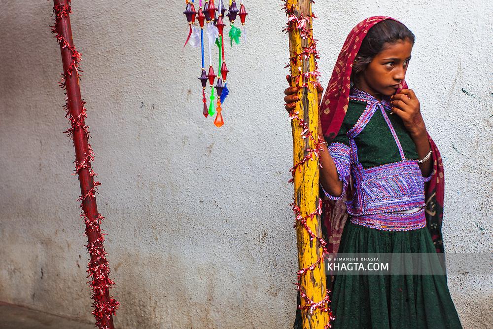 Portrait of a girl at a wedding ceremony in a village in Bhuj region of Gujarat