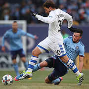 NEW YORK, NEW YORK - March 18: Hernan Bernardello #30 of Montreal Impact is challenged by Jack Harrison #11 of New York City FC  during the New York City FC Vs Montreal Impact regular season MLS game at Yankee Stadium on March 18, 2017 in New York City. (Photo by Tim Clayton/Corbis via Getty Images)