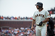 San Francisco Giants starting pitcher Madison Bumgarner (40) bats against the St. Louis Cardinals at AT&T Park in San Francisco, California, on September 3, 2017. (Stan Olszewski/Special to S.F. Examiner)