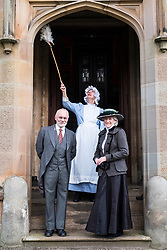 Edinburgh, Scotland, United Kingdom . 27th February, 2018. Volunteers wearing Edwardian costumes prepare to give Lauriston Castle in Edinburgh a Spring clean in preparation for the public opening later in the year. Pictured, Chris Pearson, Hilary Lovie and  Linda MacDonald.