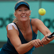 Maria Sharapova, Russia, defeating Nadia Petrova of Russia in the second round of the the French Open Tennis Tournament in Paris, France on Wednesday, May 27, 2009. Photo Tim Clayton.