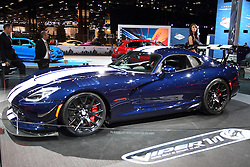 11 February 2016: 2016 Dodge Viper.<br /> <br /> First staged in 1901, the Chicago Auto Show is the largest auto show in North America and has been held more times than any other auto exposition on the continent.  It has been  presented by the Chicago Automobile Trade Association (CATA) since 1935.  It is held at McCormick Place, Chicago Illinois<br /> #CAS16