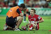 Ben Lucas down injuied. Queensland Reds v NSW Waratahs. Investec Super Rugby Round 10 Match, 24 April 2011. Suncorp Stadium, Brisbane, Australia. Reds won 19-15. Photo: Clay Cross / photosport.co.nz
