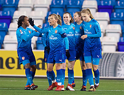 WIDNES, ENGLAND - Wednesday, February 7, 2018: Arsenal Ladies' Lisa Evans [2nd from R] celebrates scoring the third goal during the FA Women's Super League 1 match between Liverpool Ladies FC and Arsenal Ladies FC at the Halton Stadium. (Pic by David Rawcliffe/Propaganda)