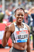 Danielle Williams (JAM) after winning the women's 100m hurdles Final equalising the Meeting Record time of 12.46 during the Birmingham Grand Prix, Sunday, Aug 18, 2019, in Birmingham, United Kingdom. (Steve Flynn/Image of Sport via AP)