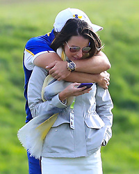 Team Europe's Sergio Garcia and wife Angela Akins Garcia at The Ryder Cup at Le Golf National, Saint-Quentin-en-Yvelines, Paris.