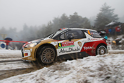 16.01.2014, Shakedownstrecke, Gap, FRA, FIA, WRC, Rallye Monte Carlo, 1.Tag, SS Laborel 1, im Bild OSTBERG Mads / ANDERSSON Jonas ( CITROEN TOTAL ABU DHABI WRT (FRA) / CITROEN DS3 ) verliert viel Zeit im Schneematch, Aktion / Action // during the Shakedown on day one of FIA Rallye Monte Carlo held near Monte Carlo, France on 2014/01/16. EXPA Pictures © 2014, PhotoCredit: EXPA/ Eibner-Pressefoto/ Neis<br /> <br /> *****ATTENTION - OUT of GER*****